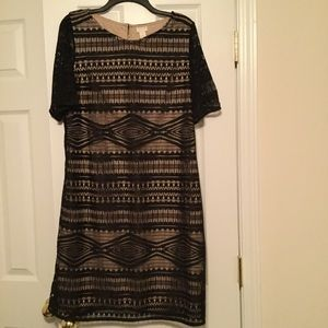 Chico's black lace over tan dress Sz 2 (12-14)